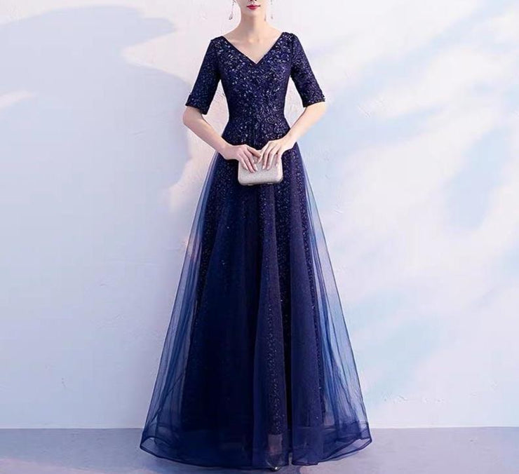 Mother of the Bride Dress [CUSTOM MADE] Dark Blue V-Neck Embroidery Beaded Dress