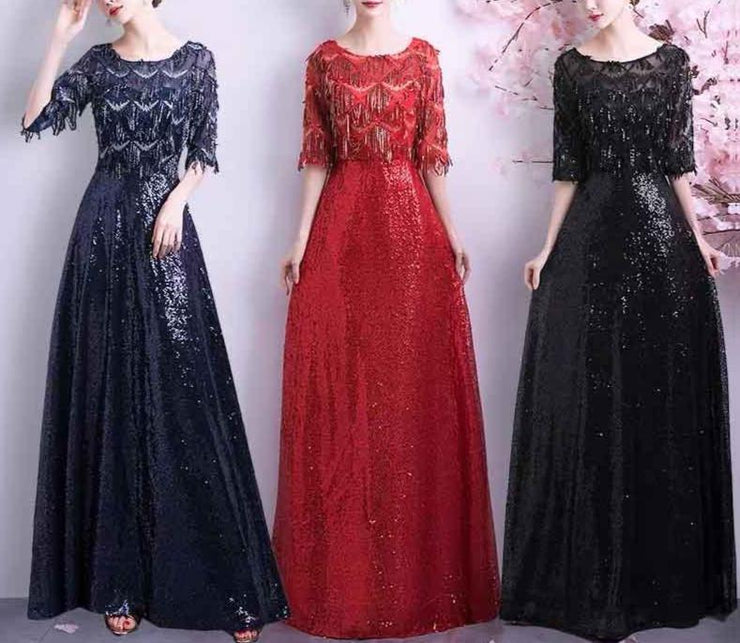 Mother of the Bride Dress [CUSTOM MADE] Tassel Sequins Design Half Sleeves Navy Blue/ Red/ Black