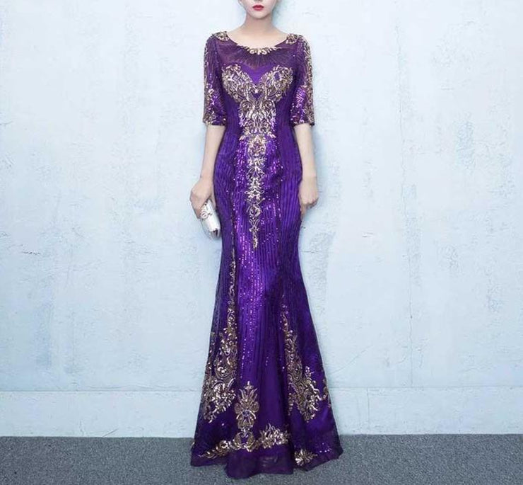 Mother of the Bride Dress [CUSTOM MADE] Violet/ Red Elegant Half Sleeves Semi-Mermaid Dress