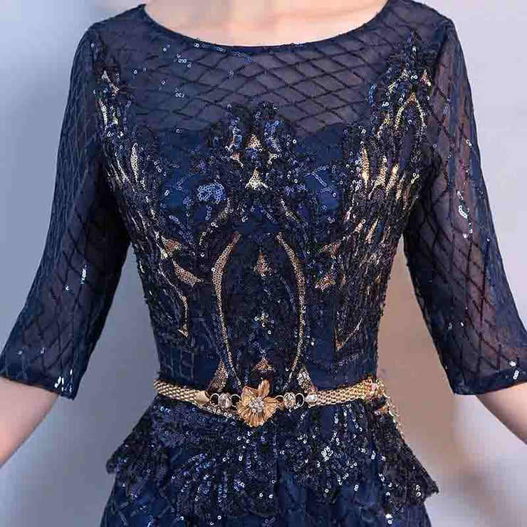 Mother of the Bride Dress [CUSTOM MADE] Red/ Navy Blue with Gold Beads Design Floral Belt