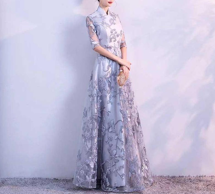 Mother of the Bride Dress [CUSTOM MADE] Close Neck Butterfly Embroidery Mesh Combined Dress Gray/ Red/ Blue