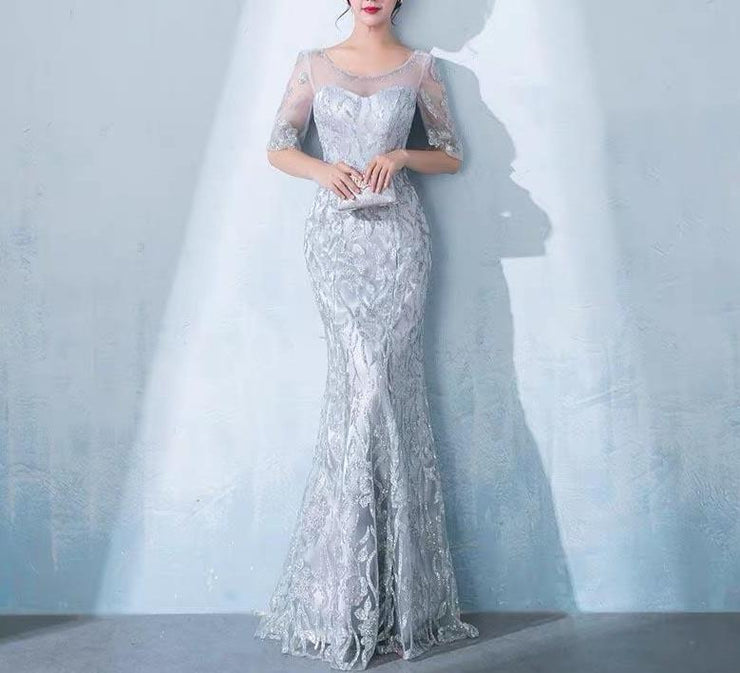 Mother of the Bride Dress [CUSTOM MADE] Gray Mesh Top Design See Through Half Sleeves