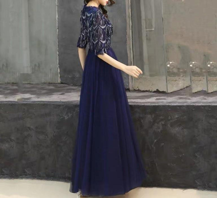 Mother of the Bride Dress [CUSTOM MADE] Navy Blue Half Sleeves Tassel Designed Top with Bottom Mesh Combination
