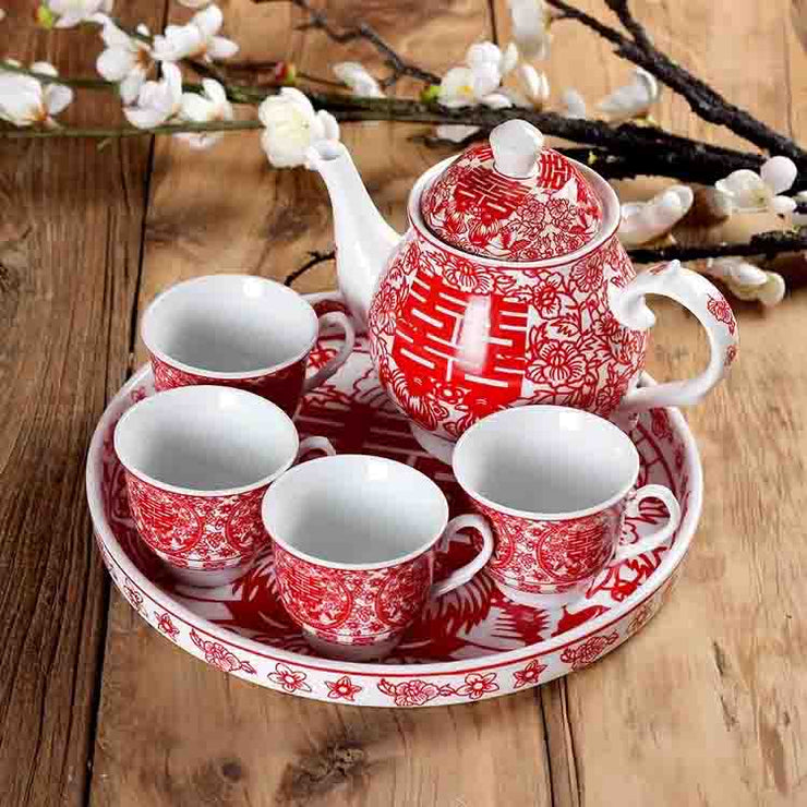 Chinese Wedding Tea Ceremony Tea Cup, Tray, & Tea Pot Set with Double Happiness Sign Theme