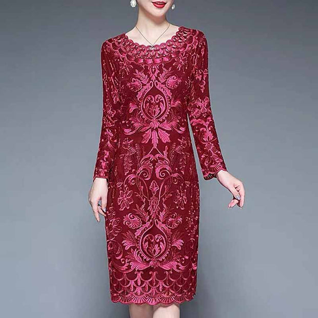 Mother of the Bride/Groom Dress Above the Knee with Pink Elegant Embroidered Design