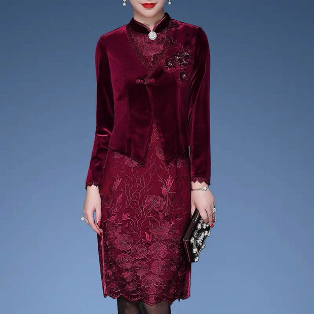 Mother of the Bride/Groom Dress Above the Knee in Floral Pattern with Elegant Blazer in Maroon Color