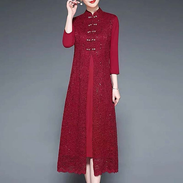 Mother of the Bride/Groom Dress Above the Knee in Plain Red with Buttoned Outer Lace Layer
