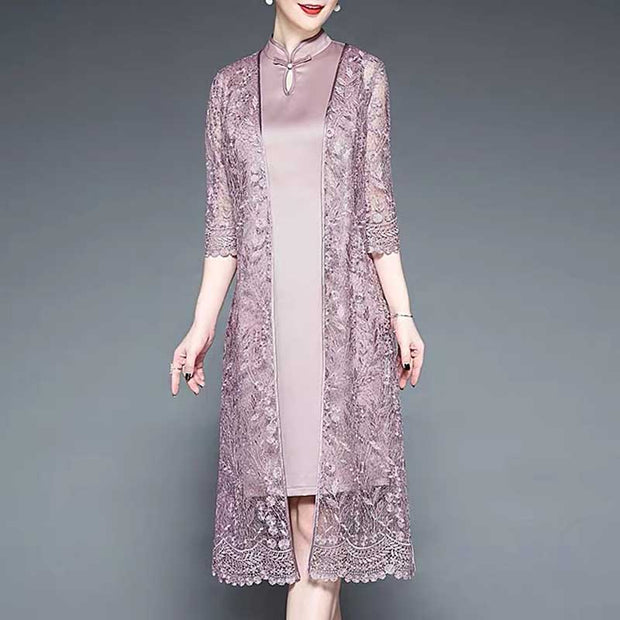 Mother of the Bride/Groom Dress Above the Knee in Plain Pink with Elegant Lace Robe
