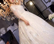 CUSTOM MADE Plus Size Wedding Dress with Lace Detailing & Quarter Sleeve V Neck Design