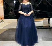 Plus Size Evening Dress CUSTOM MADE with Lace Detailing & Midnight Blue Embellishments