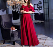 Plus Size Evening Red Dress CUSTOM MADE with Floral Embroider Design Off shoulder