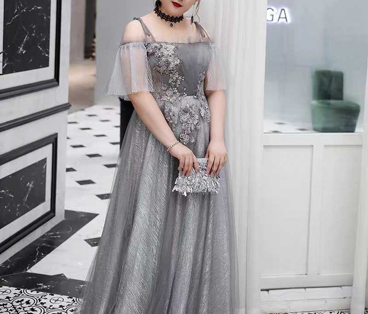 Plus Size Evening Dress CUSTOM MADE Mesh Garterized Off-shoulder Sleeves  Gray Dress