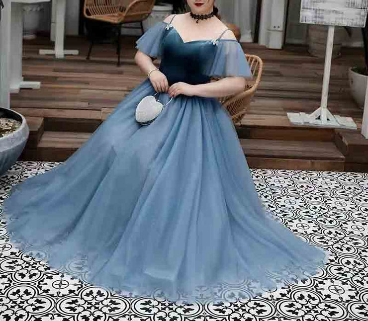 Plus Size Evening Dress CUSTOM MADE with Off shoulder Mesh Sleeves Plain Blue Elegant Dress