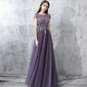 Dusty Purple Floral Lace Chiffon Evening Gown