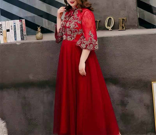 Plus Size Evening Dress CUSTOM MADE with Embroidery Design Close Neck Half Sleeves Red Dress