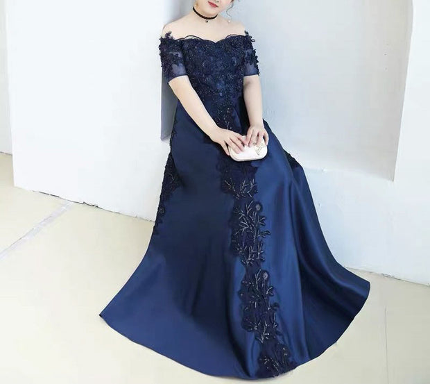 Plus Size Evening Dress CUSTOM MADE with Floral Embroidery Lace Detail Blue Elegant Off Shoulder Dress