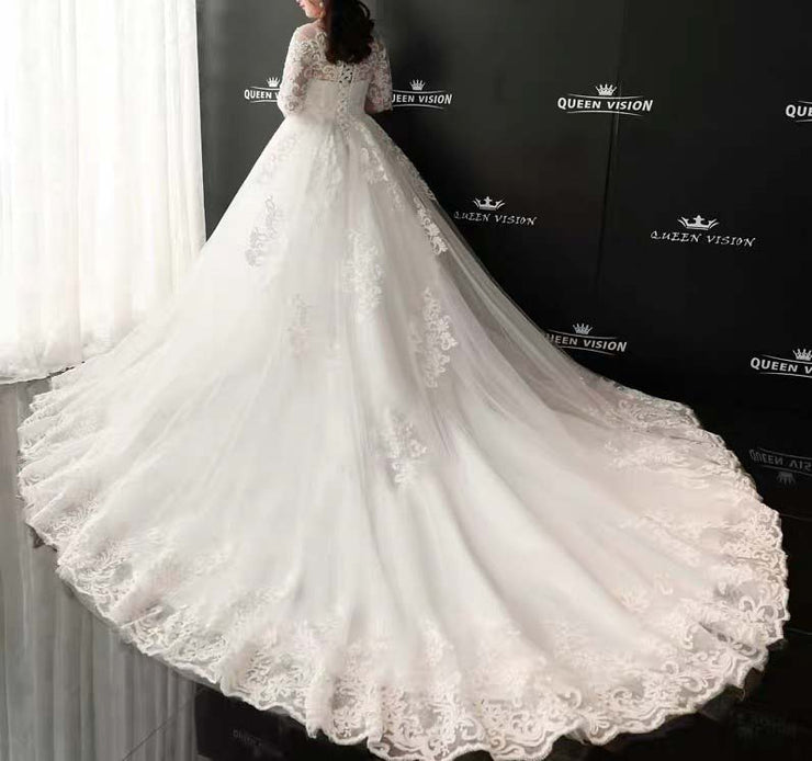 CUSTOM MADE Plus Size Wedding Dress Dreamy White Long Bridal Gown