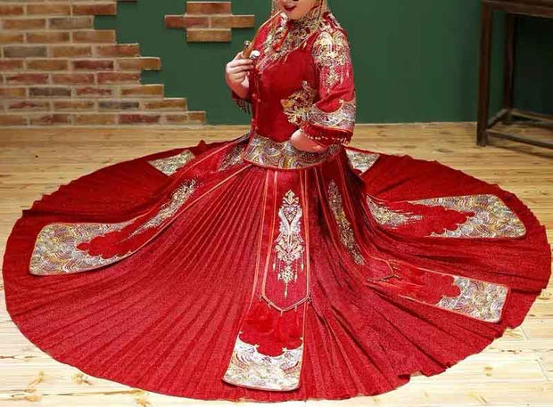 CUSTOM MADE Wedding Kua 龍鳳卦/秀禾服 Plus Size Qun Kua Cheongsam Tassel Design Half Sleeves