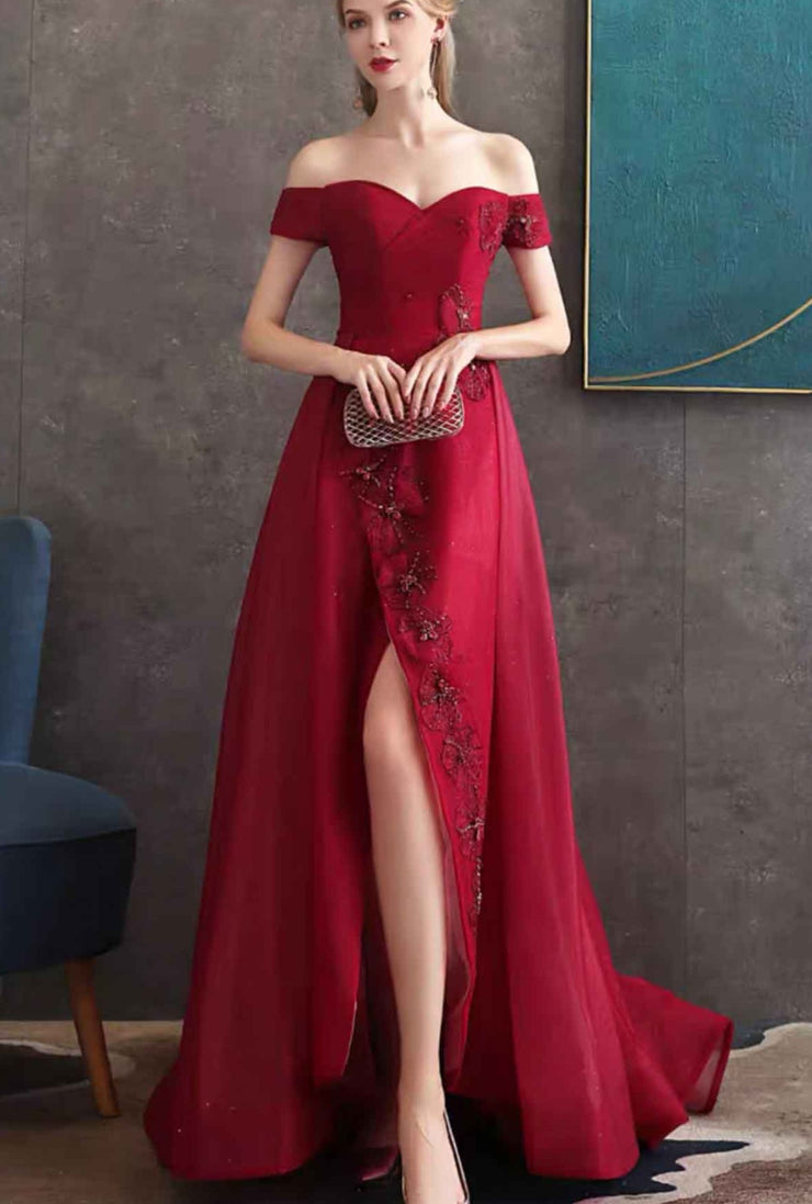 Red Off Shoulder Evening Gown Front Slit with  Elegant Beads Applique
