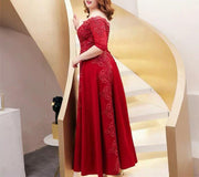 Plus Size Evening Dress CUSTOM MADE Fitted Red with Embroidery Details Off Shoulder Red Dress