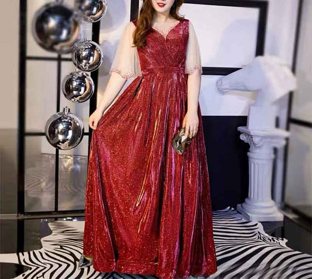 Plus Size Evening Dress CUSTOM MADE Sparkling Red with Mesh Beaded Sleeves