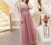 Plus Size Evening Dress CUSTOM MADE with Silver Detail Design Pink Dress