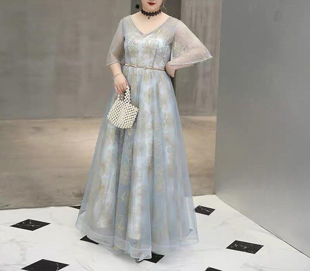 Plus Size Evening Dress CUSTOM MADE Gray V-neck with Gold Belt Top with Mesh Designed with Floral