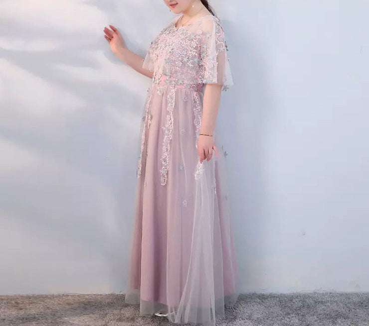 Plus Size Evening Dress CUSTOM MADE with Floral Embroider Design Simple Pink Dress Half-Mesh-Sleeves