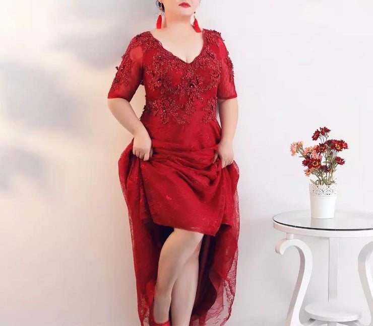 Plus Size Evening Dress CUSTOM MADE with Floral Design Red Sexy Dress V-neck