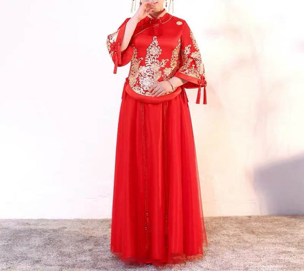 Plus Size Evening Dress CUSTOM MADE Red Chinese with Gold Oriental Design Tassel Dress