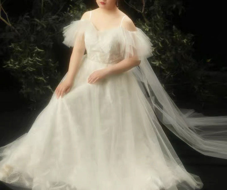 CUSTOM MADE Plus Size Wedding Dress with White Classic Elegant Design