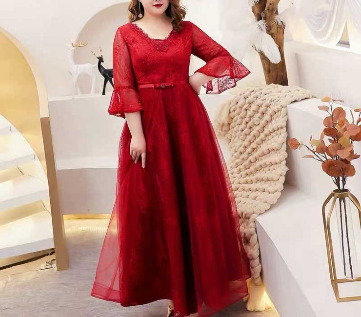 Plus Size Evening Dress CUSTOM MADE Simple Red V-neck Dress with Embroidery Detail Design