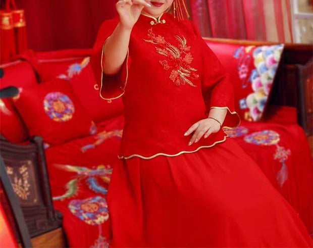 Plus Size Evening Dress CUSTOM MADE Red Chinese with Gold Embroidery Design and Linings