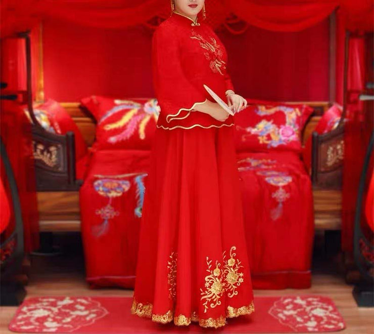 CUSTOM MADE Wedding Kua 龍鳳卦/秀禾服 Plus Size Qun Kua Cheongsam with Gold Embroidery Design and Linings