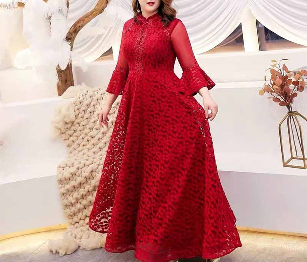 Plus Size Evening Dress CUSTOM MADE Fit Red Dress Half Sleeves Butterfly Sleeves with Floral Print