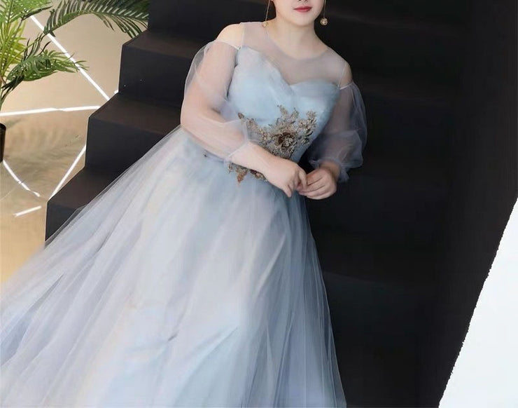 Plus Size Evening Dress CUSTOM MADE Ash Color Dress Custom With Mesh Sleeves and Gold  Floral Print
