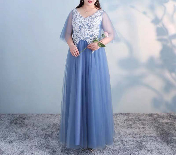 Plus Size Evening Dress CUSTOM MADE V-Neck Mesh Sleeves with White Floral Embroidery Design