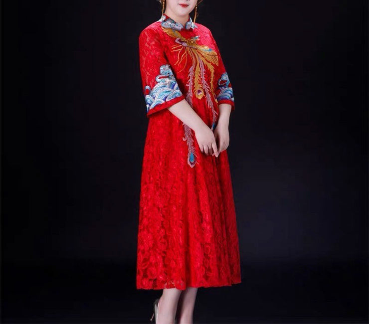 CUSTOM MADE Wedding Kua 龍鳳卦/秀禾服 Plus Size Qun Kua Cheongsam with Chinese Peacock Design Dress
