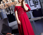 Plus Size Evening Dress CUSTOM MADE Off-shoulder Red Ankle Length Dress With Floral Beaded Design
