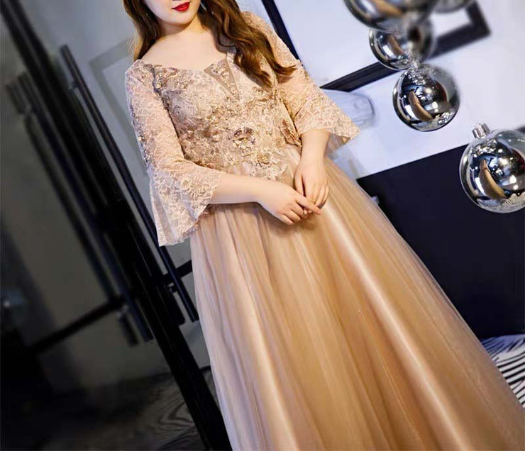 Plus Size Evening Dress CUSTOM MADE Gold Ankle Length Dress Quarter Butterfly Sleeves