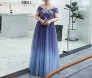 Plus Size Evening Dress CUSTOM MADE Blue to Indigo Ombre Design Glitter Off-Shoulder Dress