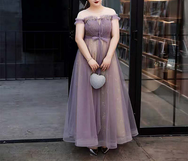 Plus Size Evening Dress CUSTOM MADE Gold Inner Dress and Violet Mesh Top Off-Shoulder Dress
