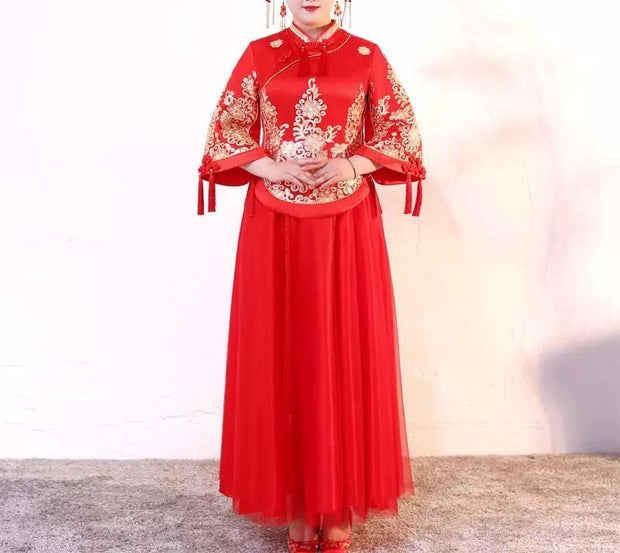 Plus Size Evening Dress CUSTOM MADE Chinese Oriental Gold Print Dress With Tassel/Floral Design On Sleeves