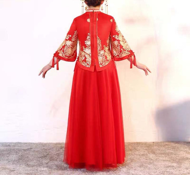 CUSTOM MADE Wedding Kua 龍鳳卦/秀禾服 Plus Size Qun Kua Cheongsam with Traditional Design
