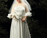 Plus Size Evening Dress CUSTOM MADE Classic White Wedding Dress with Bead Details Combination of Silk And Mesh Style