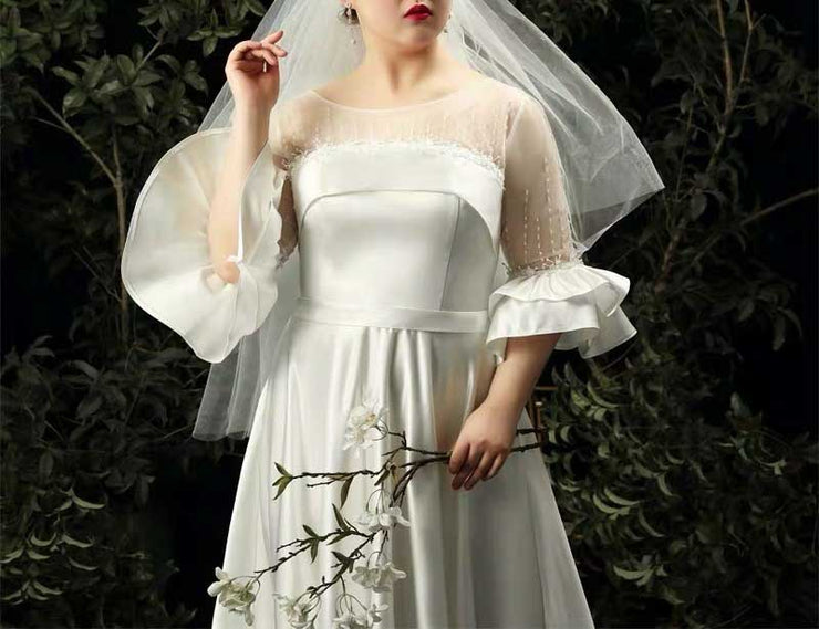 CUSTOM MADE Plus Size Wedding Dress with Bead Details Combination of Silk And Mesh Style