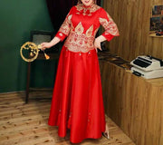 Plus Size Evening Dress CUSTOM MADE Chinese Dress Gold Printed Details and Tassel Design on Top