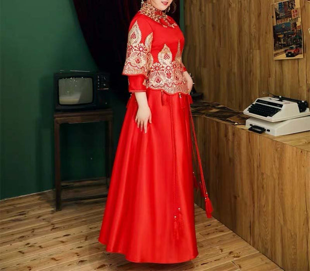 CUSTOM MADE Wedding Kua 龍鳳卦/秀禾服 Plus Size Qun Kua Cheongsam with Elegant Tassels