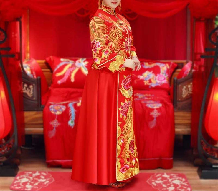 CUSTOM MADE Wedding Kua 龍鳳卦/秀禾服 Plus Size Qun Kua Cheongsam with Gold Embroidery