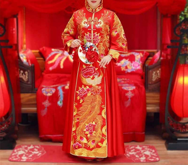 Plus Size Evening Dress CUSTOM MADE Bright Red Chinese Floral Gold Design Dress
